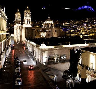 Zacatecas city la bufa blue light