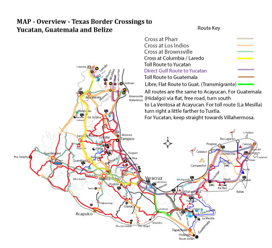 Laredo to Yucatan to Guatemala or Belize Road Map