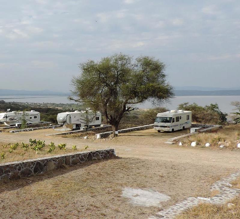 RV's parked on Mexican lake Cuitzeo